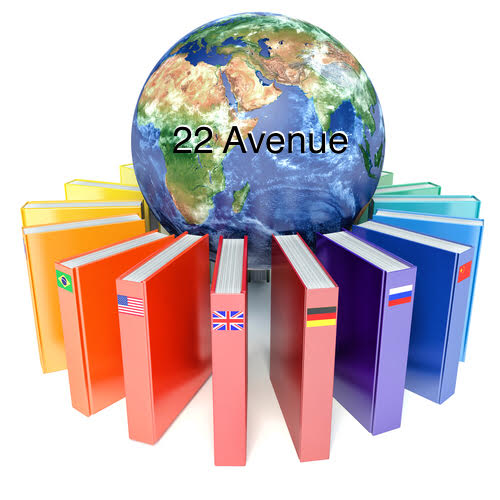 Books with the flags of the countries of the Earth. E-learning concept